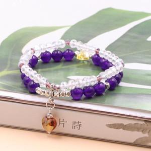 Avvolgere gioielli braccialetto Handmade Tourmaline oliva Ametysts solari Galaxy Pietra Jades 2 file Elastic Wristband dei monili delle donne B380