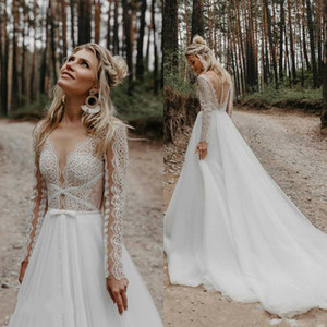 2021 Bohemian Wedding Dresses Long Sleeves Lace A Line Illusion Plus Size Covered Buttons Back Custom Made Wedding Gowns Vestido de novia