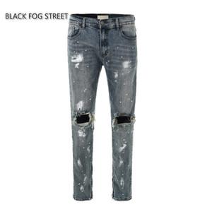 NOIR FOG STREET classique de lavage à faire vieux jeans dégâts des fermetures à glissière pour hommes skinny style trous slim fit éclaboussé coton encre Denim déchiré