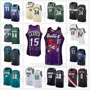 Винс 15 Картер Ja 12 Morant Jersey Giannis 34 Antetokounmpo Ray Luka Allen 77 DaMian Damian 0 Lillard Баскетбол