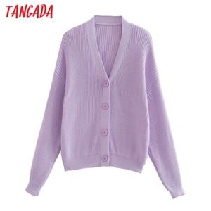 les femmes Tangada cardigan surdimensionné lâche mode dame pull vintage cardigan solide tricotée manteau 3R20
