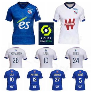 20 Kits de camisa 21 de fútbol Racing Estrasburgo 25 Ludovic Ajorque Jersey 12 Lebo Mothiba 11 Dimitri Lienard 26 Adrien Thomasson Fútbol