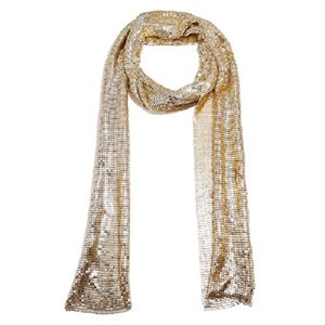 New ins fashion designer glittering gold silver metal sequins leopard scarves clothing accessories for women girls