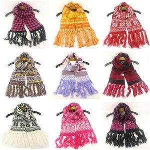 Weihnachten Quasten Wolle Langer Schal Schneeflocke Elch-Muster-Knitting Scarfves Outdoor-Teens Ski Halstuch Paare Neck Wraps Schal New D91007