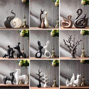 Semplice moderna ceramica Figurine Soggiorno Ornament decorazione fornire domestico Mestieri Ufficio Accessori Caffè regalo di nozze T200330