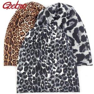 Caps Geebro Nueva Winter Beanie sombrero de otoño de estampado en leopardo para Adultos Unisex Mujer Hombre casquillo del cráneo
