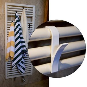 4 6 pcs Hook White Holder Hanger for Heated Towel Radiator Rail Bath Hook Plastic Holder Clothes Scarf Hanger Home Storage Decor