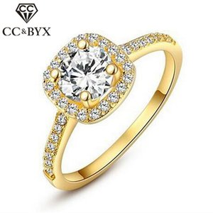 Jewelry Fashion Rings For Women Jewelry Luxury Gold Color Square Stone Anneau Engagement Bijoux Bridal Wedding Ring 624