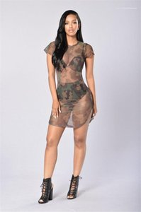 Club Panelli Mini Elbise Yaz Kadın Elbise Kadın Kamuflaj Kısa Kollu Elbiseler Casual Bayanlar