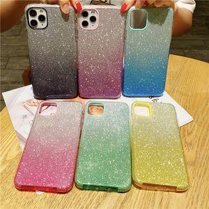 3 IN 1 Gradient Glitter PC TPU Abdeckung Anti-fallen Schutzhülle Handy-Fall für iPhone X XR 11 11 Pro max