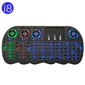 i8 Mini Wireless Keyboard 7 Colors Backlit 2.4G English Russian Spanish French Air Mouse with Touchpad For Tablet TV Box