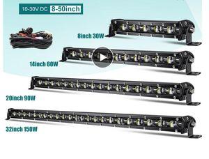 Super brillante LED Barra de luz 6D 8-50 pulgadas Offroad Combo LED Barra de LED para camión LADA 4x4 SUV ATV NIVA 12V 24V Luz de conducción automática