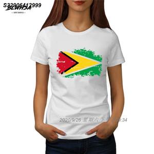 Guyana Bayrağı Tişörtlü Kadınlar Moda Kısa Kollu% 100 Pamuk Baskılı T-shirt Komik Guyana Ulusal Bayrak Kadınlar Tees 101279