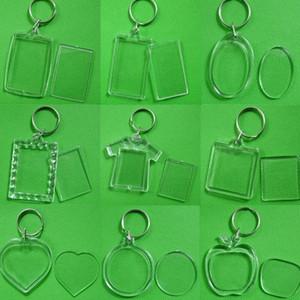 12 스타일 DIY 아크릴 빈 사진 키 체인 T 셔츠 모양 열쇠 고리 삽입 사진 열쇠 고리 DHC1462