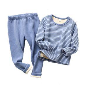 brand Winter Kids Pajamas Sets Warm Pyjamas For Boys Thicken Girls Sleepwear 2-12years Fleece Baby Thermal Underwear 200922