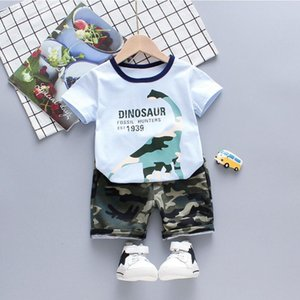 Children's Clothes Sets Casual Baby Boy Summer Clothes Cartoon Dinosaur T-shirt+ Camouflage Shorts 2pcs set Cotton Kids clothes