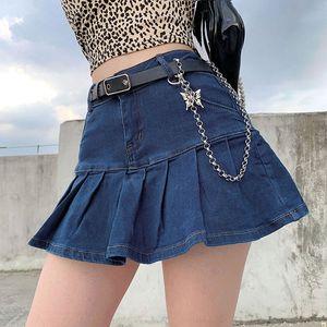 D255p at4Ty Autumn 2020 women's new washed high waist slim A- line pleated Denim denim skirt skirt for women