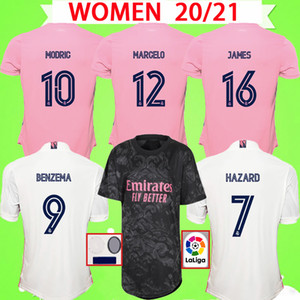 MUJERES 2020 2021 Real madrid grils de los jerseys 20 21 hogar lejos BENZEMA BALA PELIGRO DE ZIDANE Sergio Ramos camisas damas de fútbol de color rosa
