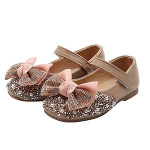 Zapatos del Rhinestone Bling con el cuero del Arco-nudo de niños Pisos niños Soes niños pequeños chicas de Navidad muchacha para la boda zapatos de vestir