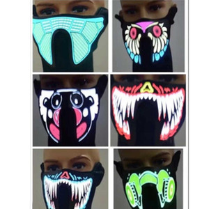 Designer Mask Led Music Face Masks With Sound Activated Masks Cold Light Helmet Fire Party Dancing Riding Skating Protective Mask HH9-2329