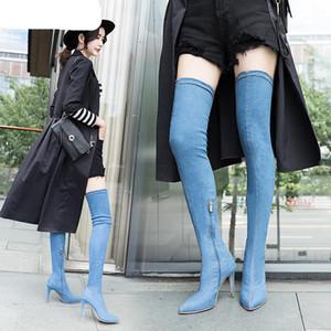 Мода женщин сапоги высокие каблуки весна осень над коленом Boots Tight High стилет джинсы Denim Рим Длинные обувь Размер 42
