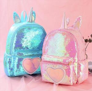 Genç Kızlar Sırt Çantası Sevimli Unicorn mochila Mujer Çocuklar Sac A Dos Bagpack Pink için 2020 Sequins Sırt Çantası Kadın kız Okul Çantaları
