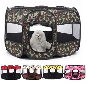개 애완 동물 하우스 접이식 애완 동물 놀이 틀 훈련 울타리 접는 침대 고양이 텐트 하우스 케이지 놀이 틀 강아지 켄넬 팔각 야외