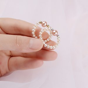 ASHIQI Natural Freshwater Pearls Ring Women with Two Sterling silver Beads Jewelry wedding Gift
