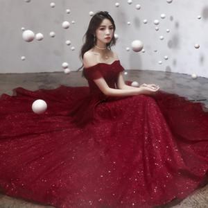 SkdhW Bridal new 2020 elegant shoulder summer formal evening dress wedding red usual one-line toast evening dress fairy girl tGibo