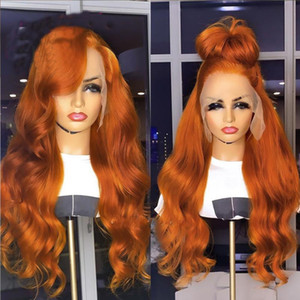 PAFF Brazilian Body Wave Human Hair Wigs 180% Orange Ginger Color Remy Long 13*4 Lace Part Front Human Wig Pre Plucked