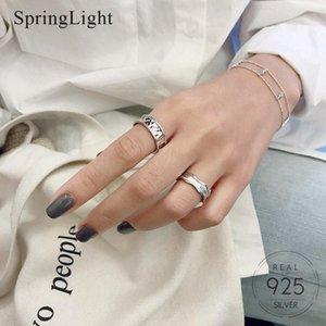 خواتم العنقودية Springlight بسيطة الذهب احباط طيات فتح الدائري الحقيقي 925 فضة الإبداعية مصمم اليدوية المجوهرات الجميلة للنساء