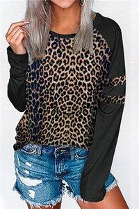 Clothing Womens 2020 Designer Luxury Tshirt Long Sleeve Leopard Print Crew Neck Pullover Tees Tops Female