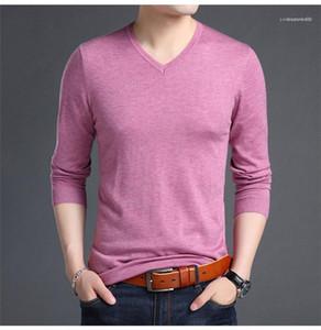 Kollu Casual T Gömlek Katı Renk V Yaka Erkek Örme T Shirt Bahar Otoyumn Erkekler Tasarımcı Gömlek Uzun