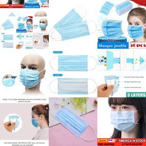 100/50 / 30шт лица Descartável Antipoeira De Proteção Pessoal 3ply Ear Loop LIYZU SAF5