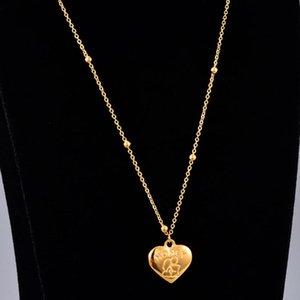 Şık Titanyum Çelik Altın kaplı boncuk Güzel Kalp Kolye Kadın Basit Kişilik Bal kolye HCL334