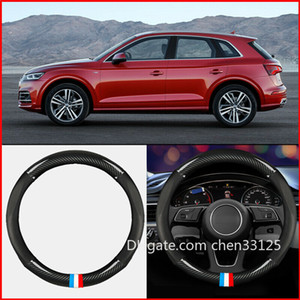 38cm Black Leather Carbon Fiber Car Steering Wheel Cover For Audi Q5 2015-2020