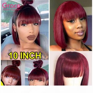 99J Short Bob Wigs With Bangs For Black Women Full Machine Made Straight Malaysian Non Lace Front Wig Burgundy Pixie Cut Glueless Wig