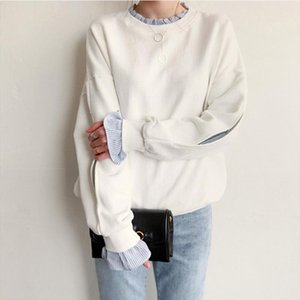 Fake 2 Pieces Sweatshirts Women Pullovers Jumper Tops Autumn Striped Spliced Long Sleeve Casual Loose Tops