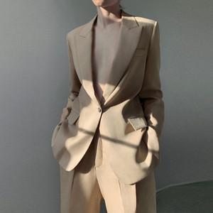 Sondr 2020 Yeni Bahar Sonbahar Çalışma İki Adet Set Kadınlar Katı Blazer Gevşek Ceket + Pantolon Suit Şık Ofis Ladys Setleri