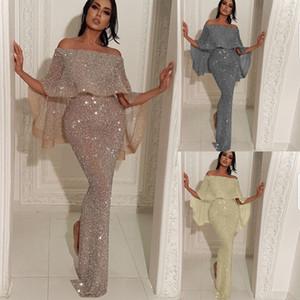 New Gold Silver Shiny Prom Dresses Split Off Shoulder Long Dresses for Evening Wear Formal Party Cape Dresses fz8147