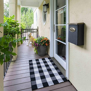 Cotton Plaid Check Rug 27.5 X 43 Inches Washable Woven Outdoor Rugs for Layered Door Mats Porch Kitchen Farmhouse Black