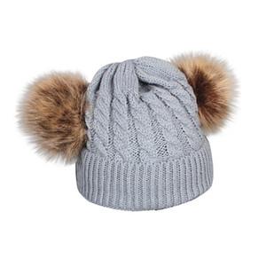 BAMBINO BAMBINO UNISEX Cappello in lana in lana invernale Berretto invernale Cappelli per bambini con POM Poms Hedhming Montare Tenere tappi elasticizzati aderenti caldi A40