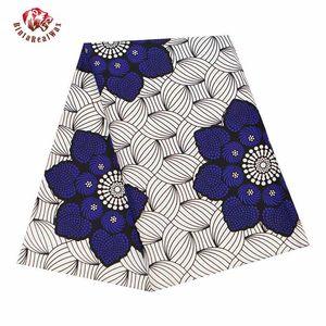 Ankara Fabric Africa Polyester Print Blue Flower African BintaRealWax High Quality 6 yards lot African Fabric for Dress FP6343