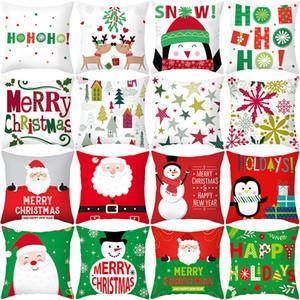 Christmas Santa Claus Pattern Cushion Cover Home Car Decor Pillowcover 45*45cm