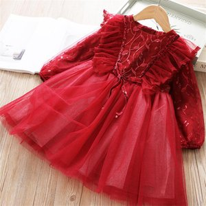 Christmas Girls Dress For Kids Winter Long Sleeve Flower Princess Lace Dress New Year Party Costume Children Wedding Clothing 8T