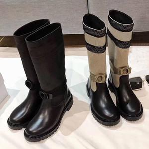 invierno nuevos caballeros botas de diseño Letter calcetines zapatos de las mujeres de punto elástico plataforma de la manera Altas botas largas botas 100% cuero de la mujer zapatos