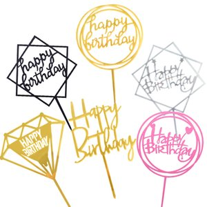 Gold Silver Black Pink Acrylic Craft Happy Birthday Cake Topper Dessert Cupcake Decoration for Birthday Party Lovely Gifts