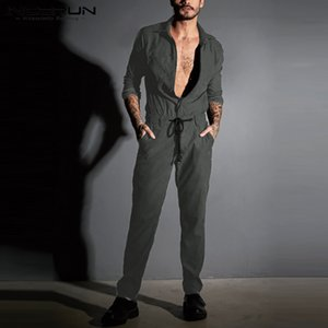 INCERUN 2020 Fashion Men Jumpsuit Solid Color Streetwear Long SLeeve Drawstring Pants Lapel Rompers Chic Men Cargo Overalls 5XL