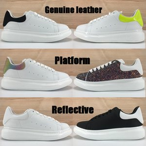 Высокого качество платформы повседневная обувь многоцветной хвост лайм оливковая тройной черные белой отражать серебро пришивания лазерных мужчин женщин отражающих кроссовки
