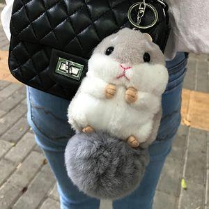 2020 trinket Mini Hamster Pom Pom KeyChains Women fluffy Hamster Toy Doll Bag Car Key Ring Monster Keychain Jewelry Gift